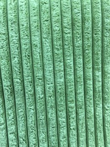 Huggable, squishable, soft, green vertical striped upholstery fabric.